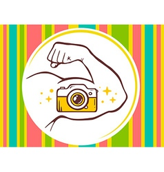 Strong man hand with photo camera icon on vector