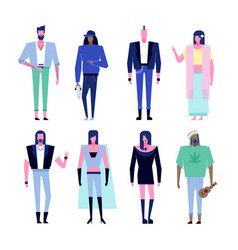 subculture characters set vector image