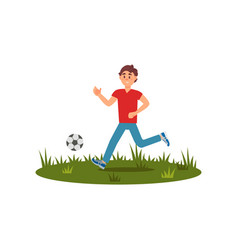 teen boy playing football on green grass summer vector image