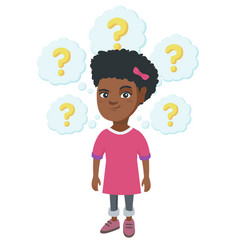 Thinking african-american girl with question marks vector