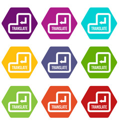 translate button icon set color hexahedron vector image