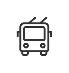 trolley bus front view outline style icon vector image