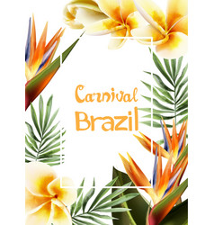 tropic yellow flowers exotic frame vector image