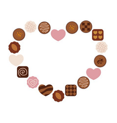 Various chocolates arranged as a heart-shape frame vector