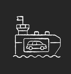 vehicle carrier ship chalk white icon on black vector image