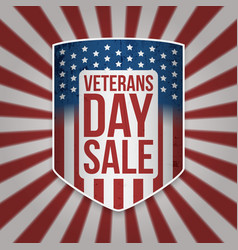 veterans day sale big patriotic shield vector image