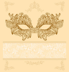 Vintage background with venetian carnival mask vector