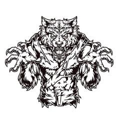 Vintage concept creepy angry werewolf vector