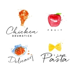 Watercolor label pasta vector image