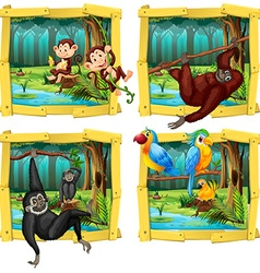 Wild animals in wooden frame vector