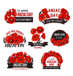 Anzac day lest we forget poppy ribbons vector