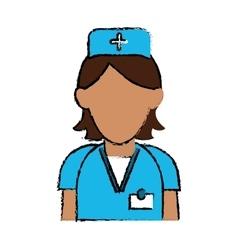 cartoon nurse staff care clinic uniform hat cross vector image