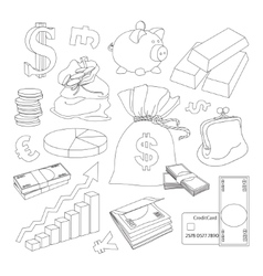 Finance and Currency icons set vector image
