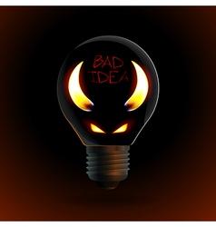 fire silhouette of devil in bulb vector image