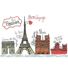 Paris landmark panoramaDoodle colored sketchy vector image vector image
