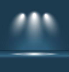 spotlight blue light rays room studio background vector image vector image
