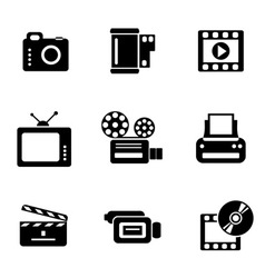 computer photo-video icons vector image vector image