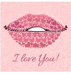 Decorative card with lips for Valentines Day vector image vector image