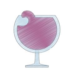 drawing glass cup cognac beverage vector image vector image