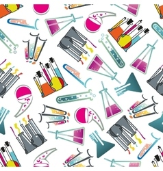 Laboratory glasses tubes and flasks pattern vector image