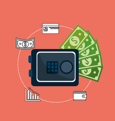Metal safe money to business inversion vector