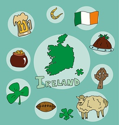 set of national profile of the ireland vector image vector image