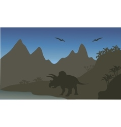 Silhouette of pterodactyl and triceratops vector image