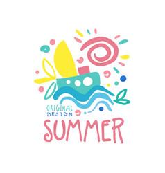 summer logo original design label for summer vector image