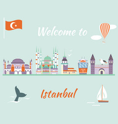 tourist poster with famous landmarks of istanbul vector image vector image