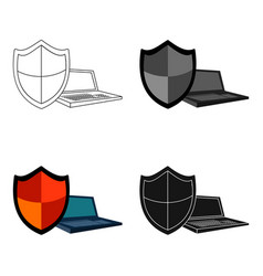 data security of laptop icon in cartoon style vector image vector image