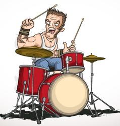 Rock musician drummer vector image