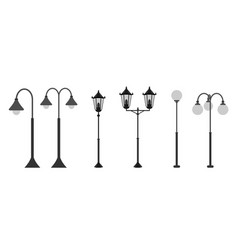 set flat streetlights city lamps are isolated on vector image