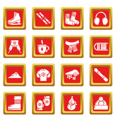 winter clothes icons set red square vector image
