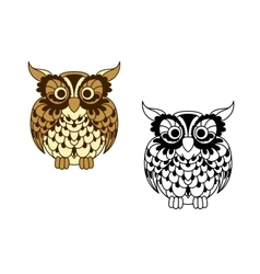 Brown cartoon and outline colorless owl bird vector image vector image