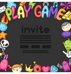 Game kawaii invite Cute gaming design elements vector image vector image