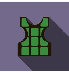 Green bulletproof vest icon flat style vector image