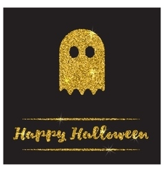 Halloween gold textured ghost icon vector