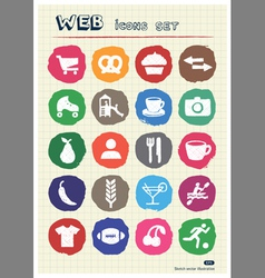 Rest food and hobby icons set drawn by chalk vector image vector image