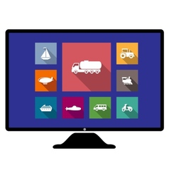Set of flat transport icons on monitor vector image