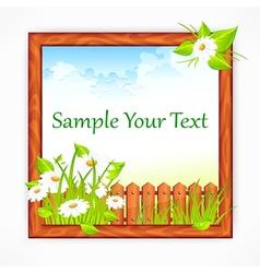 Wooden frame with landscape vector image vector image