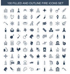 100 fire icons vector image