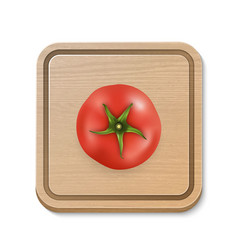 3d realistic juicy tomato on a square vector image