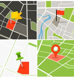 Abstract city map collection with pins vector image