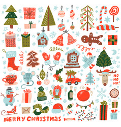 big set christmas design element in doodle vector image