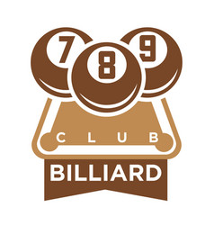Billiard club logo emblem silhouette isolated on vector