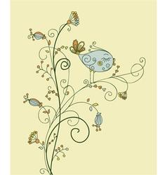 Bird on floral vector