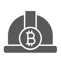 bitcoin miner hat glyph icon finance and money vector image