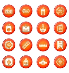 Black Friday icons set vector