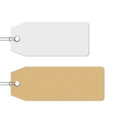 blank white and brown price tags hanging on the vector image