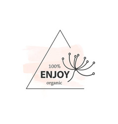 botanical logo outline drawing vector in set vector image
